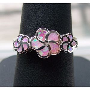 STERLING SILVER Lab Pink Fire Opal Plumeria Ring